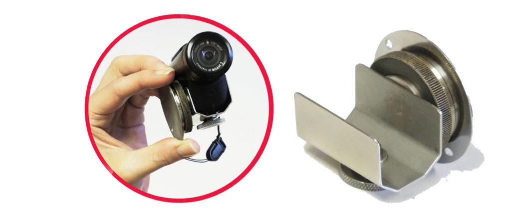 Универсальный кронштейн-держатель для миниатюрного видеорегистратора, предназначенного для эксплуатации в экстремальных условиях (мото-спорт, сёрфинг, сноуборд, парашютный спорт и т.п.)
